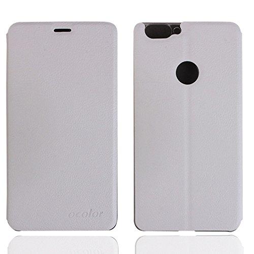 Guran® PU Leder Tasche Etui für BLUBOO Dual Smartphone Flip Cover Stand Hülle Case-weiß
