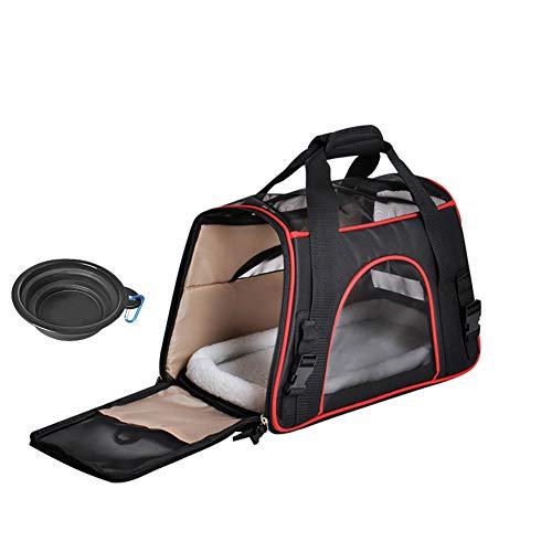 Queta Weich Gepolsterte Transporttasche, FaltbareTransportbox, Tiertragetasche mit fressnapf, Haustiertasche, Katzentransportbox, Hundereisetasche (41 * 20 * 27cm)