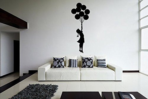 (35 x 90 cm) Banksy vinyl decorative sticker for wall escapism one blank girl with balloons / Street Graffiti vinyl decoration sheet / Home DIY fabric! + includes decorative figure and decals for random gift