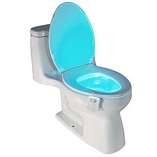 flintronic LED Toilette WC Nachtlicht,Motion Sensor LED Lampe Batteriebetriebenes, 8 Farben Wechsel
