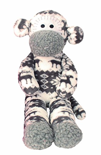 FESTIVE FUN SOCK MONKEY LARGE SOFT CHRISTMAS TOY GREY