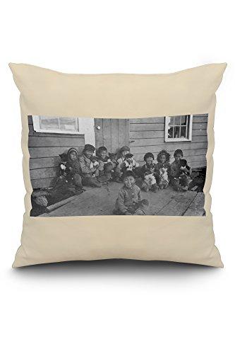 eskimo-children-and-puppies-photograph-20x20-spun-polyester-pillow-case-white-border