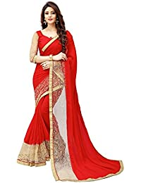 White World Women's Georgette Embroidered Red Color Saree With Blouse Piece