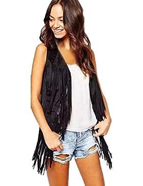 Cárdigan con flecos, chaleco de flecos bordados sin mangas, otoño invierno, mujer