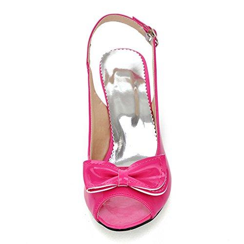 TAOFFEN Femme Mode Kitten Heel Slingback Sandales Talon Moyen Chaussures Avec Bowknot Rouge