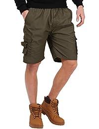 KRISP® Herren Einfarbige Cargo Shorts Kurze Hose Baumwolle