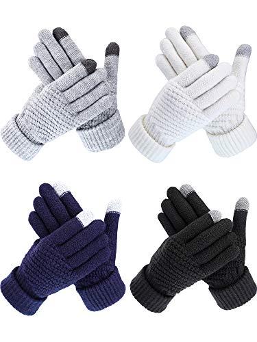 Bememo 4 Paare Winter Strick Handschuhe Warm Touchscreen Fäustlinge für Erwachsene Damen und Männer (Farbe Set ()