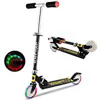 OUTCAMER Foldable Scooter for Kids New Aluminum Alloy Adjustable Height Children Kick Scooter with 2 LED Light Up Flashing Wheels Best Gifts for Young Boys Girls,Support 176 LBS