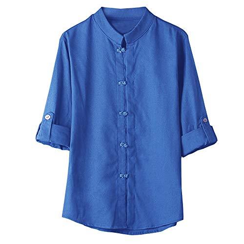 Yvelands Chemise Soldes Homme Couleur Unie À La Chinoise Boucle Cardigan Top Manche Cinq Points T-Shirt(Bleu Profond,Medium)