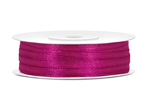 SiDeSo SATINBAND 50m x 3mm viele Farben Hochzeit Dekoband Geschenkband Antennenband Schleifenband (pink)
