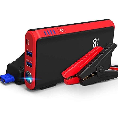 GOOLOO Auto Starthilfe Powerbank,500A Spitzstrom geeignet für 12V Autobatterie Anlasser,12V Motorradbatterie,mit Dual USB,LED/Flash/SOS,(Bis zu 4,5 L Benzin / 3,0 L Diesel) (Rot)