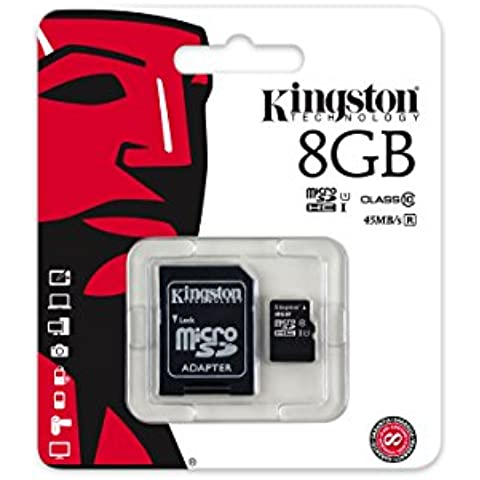 Kingston SDC10G2/8GB - Tarjeta microSD de 8GB (clase 10 UHS-I 45MB/s) con adaptador SD