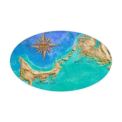CafePress - Grace Bay: Mural Map Of Turks & Cai Sticker (Oval) - Oval Bumper Sticker Car Decal