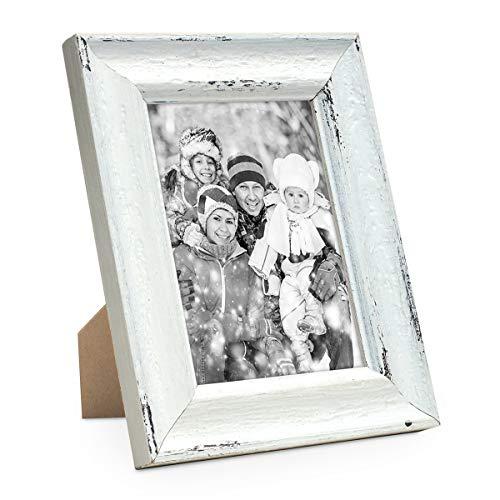 PHOTOLINI Vintage Bilderrahmen Landhaus-Stil Shabby-Chic Weiss Gekalkt 13x18 cm/Fotorahmen / Portraitrahmen