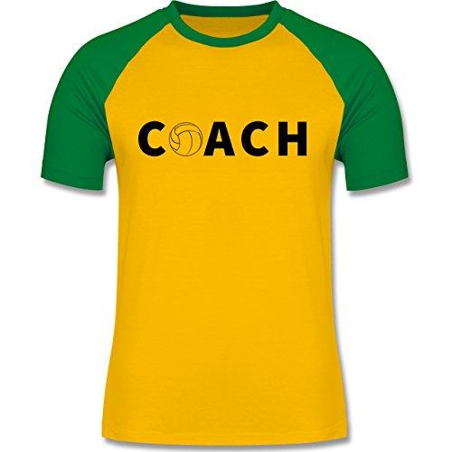 Volleyball - Volleyball Coach Trainer - zweifarbiges Baseballshirt für Männer Gelb/Grün