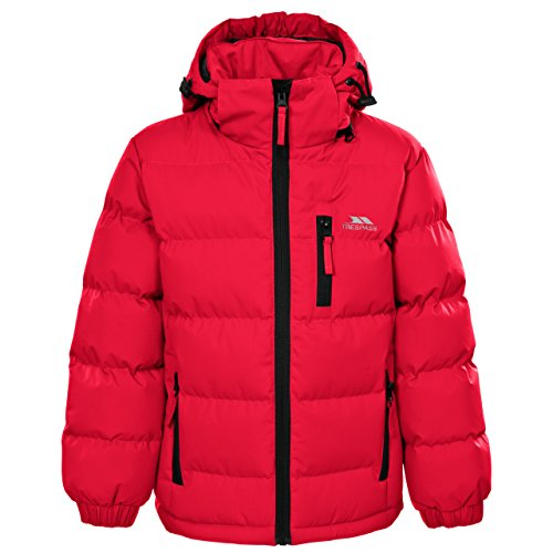 Trespass Kids Tuff Waterproof Rain Jacket with Removable Hood, Red, Size 11/12