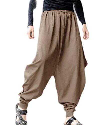 Yeirui Men Baggy Elastic Waist Elastic Waist Casual Trousers Loose Harem Pants Khaki US L Relaxed Fit Pleated Chino-hose