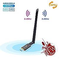 Adaptateur Clé Wifi, Cherish 1200Mbps USB Wifi Dongle Sans Fil AC Dual Band (2.4G/300Mbps+5.8G/866Mbps) USB 3.0 Adapter Carte Wifi avec Antenne Détachable Clef Wifi pour Win10/8/7/Vista MAC OS Linux