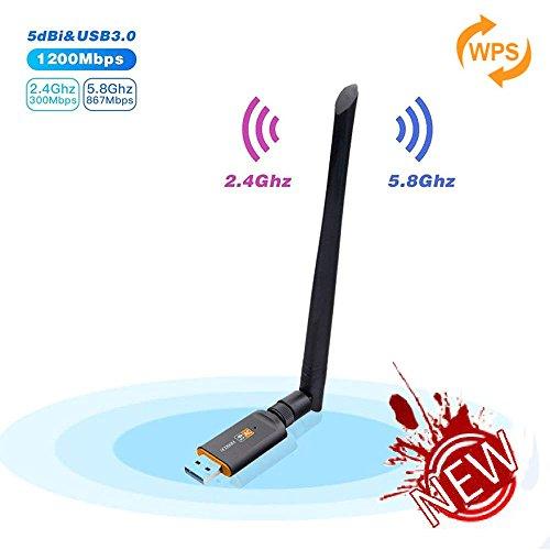 Inalámbrico USB Wifi Adaptador, Cherish 1200Mbps WiFi Antena con USB 3.0 USB Wireless Adaptador con 5DBI Banda Doble 2.4GHz/5.8GHz Receptor WiFi Dongle WiFi 802.11ac / b / g / n para Desktop/Laptop/ PC, compatible con Windows 10 / 8.1 / 8/7 XP, Mac OS (w)
