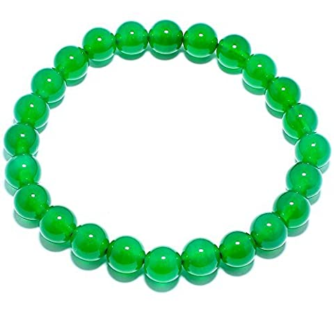 Natural Genuine Green Agate Jade Gem Beads, maxin Bling Jewelry 8MM Semi-Precious Gemstones Energy Stone Healing Power Crystal elastic Stretch Stone Loose Beaded Bracelet Set ,Unisex