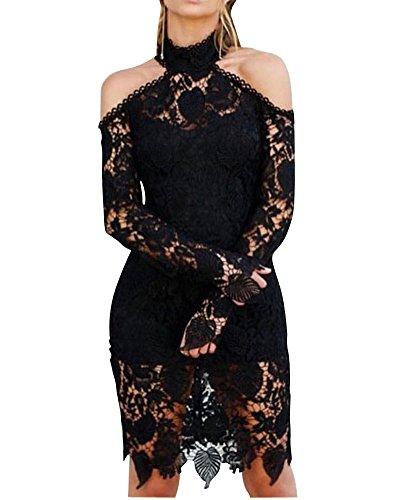 Femme Sans Bretelles Avec Haute Encolure Dentelle à Manches Longues Robe Noir