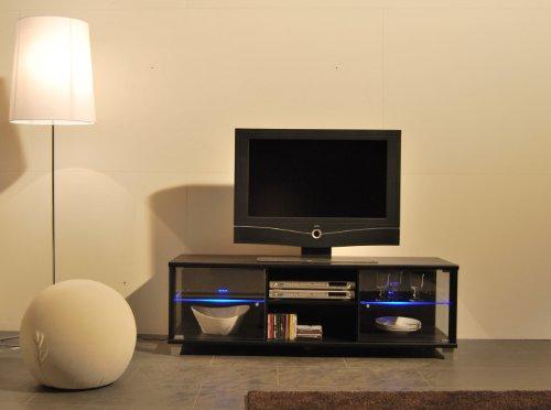 TV-BANK / Fernseh-Schrank / Sideboard in Escheoptik schwarz inkl. LED-Beleuchtung blau – B 140 cm - 2