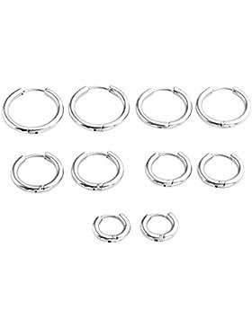 JSDDE Piercing Schmuck,2x Chirurgenstahl Creolen Ohrringe Hoop Ring Huggie Kreolen Ohrringe 8-16mm Silber