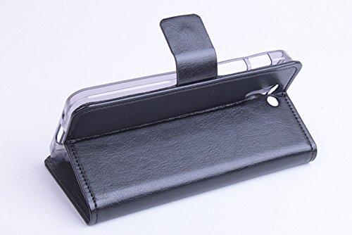 Baiwei Pu Leder Kunstleder Flip Cover Tasche Handyhülle Case für Asus PadFone S X Tasche Hülle Case Handytasche Handyhülle Etui (Schwarz mit Halter)