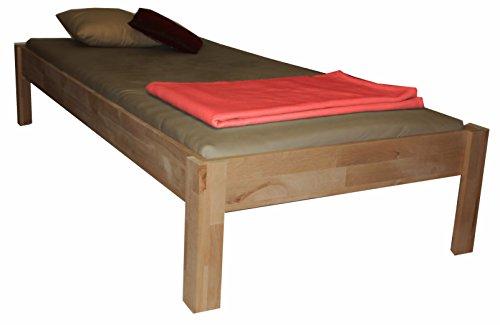 Futonbett Buche mit Kopfteil, erhöht 45 cm, Massivholz, Holz, Kinderbett, Bett, (100x200)