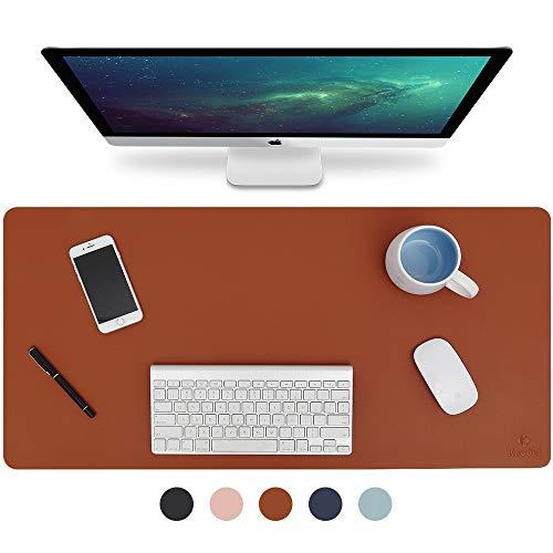 Knodel Tischunterlage, Schreibtischunterlage, 90cm x 43cm PU-Leder Tischunterlage, Laptop Tischunterlage, wasserdichte Schreibunterlage für Büro- oder Heimbereich, doppelseitig (Braun / Grau)