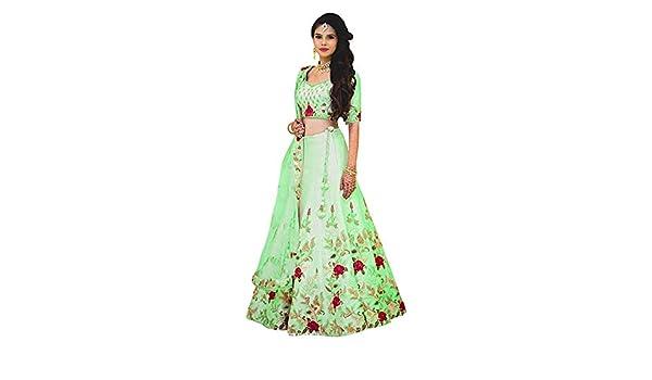 Buy Rudra Fashion Women S Green Heavy Satin Semi Stitched Embroidered Lehenga Choli Green Free Size At Amazon In