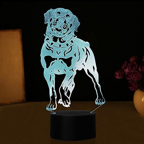 3D Visuelle Rottweiler Hund Tischlampe Niedlichen Tier Illusion LED Nachtlicht 7 Farben Ändern Schlafzimmer Baby Schlaf Beleuchtung Dekor Geschenk -