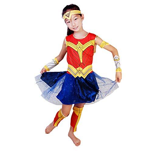 Hope Wonder Woman Kostüm Für Kinder Mädchen Kostüm Kleidung Geburtstag Party Karneval Halloween Cosplay Outfit 3-8 Jahre,Red-150 cm (Wonder Woman Kostüm Für Kleinkind)