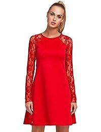 elomoda Mini-Kleid Tunika A-Form Ärmel mit Spitze Gr. S M L XL 2XL 3XL, M254
