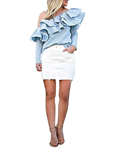 ISASSY Women's Off Shoulder Ruffle Frill Long Sleeve Striped Bardot Tops Blouse Shirt Tee Blue
