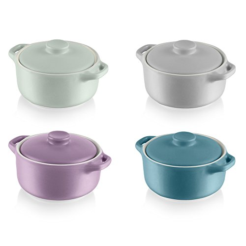 Swan Fearne by Mini Round Casserole Dishes with Lid, Ceramic Stoneware, Assorted Colours, 15 x 13 x 29 cm, Set of 4