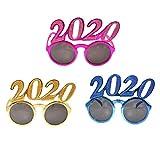 Amosfun 3 Stück 2020 Silvester Brille Neujahr Sonnenbrille Spaßbrille Partybrille Lustige Party Foto Requisiten für Kinder Erwachsene New Year Weihnachten Kostüm Accessoires