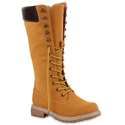 Girl Combat Kostüm - Damen Stiefel Worker Boots Profilsohle Schnürstiefel Schuhe 108991 Hellbraun 38 Flandell