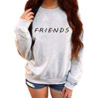bad6195c5 Womens Fashion Friends Print Sweatshirt Ladies Slouch Pullover Round Neck Long  Sleeve Sweater Tops Elegant Pullover