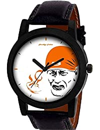 New Arrival Of Saibaba Printed With Casual & Formal With High Quality Leather Belt Analog Watch For Men & Boys