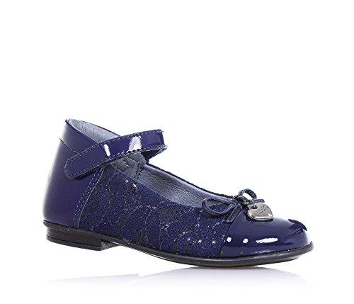 LIU JO - Ballerina blu in vernice e pizzo, con chiusura a strappo, fiocchetto applicato sulla parte anteriore, cuoricino metallico logato, Bambina, Ragazza-24