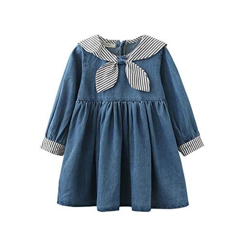 Süße Kostüm Sailor Kleinkind - LENGIMA Mädchen süßes langärmliges Jeanskleid Jean Ruffle Marine Sailor Style Playwear (Color : Blue, Size : 140)