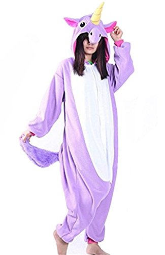 Kenmont Jumpsuit Tier Cartoon Einhorn Pyjama Overall Kostüm Sleepsuit Cosplay Animal Sleepwear für Kinder / Erwachsene (Large, Lila)