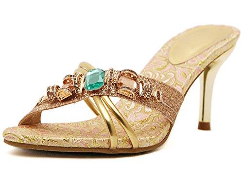 Sommer gut mit hochhackigen Sandalen und Pantoffeln Frauen Sandalen Frau Diamanten Gold