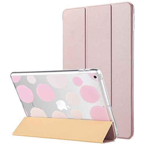 ULAK iPad 9.7 2018 Hülle, iPad 9.7 2017 Hülle Ultradünn Superleicht Schutzhülle mit Transparenter Rückseite Abdeckung Cover Auto Schlaf/Wach Funktion für Apple iPad 9,7 Zoll 2018/2017, Roségold