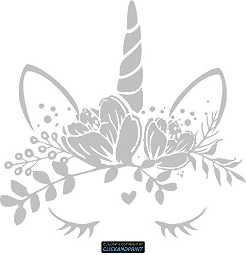 CLICKANDPRINT Aufkleber » Einhorn mit Blumenschmuck, 50x48,6cm, Carbon Oracal silbergrau • Dekoaufkleber / Autoaufkleber / Sticker / Decal / Vinyl