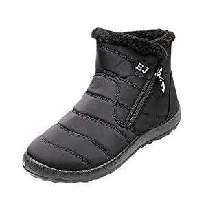 Damen Winterschuhe mit Warm Futter Mode und Bequeme Flach Sportschuhe mit Reißverschluss Frauen Non Slip Casual Outdoor Schuhe Schneestiefel