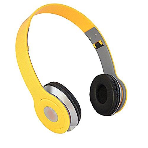 YOPEEN Ohrhörer Kopfhörer Head Mounted nicht Bluetooth Headset PC Laptop Notebook Headset Ohrhörer Heavy Bass Weiß. gelb