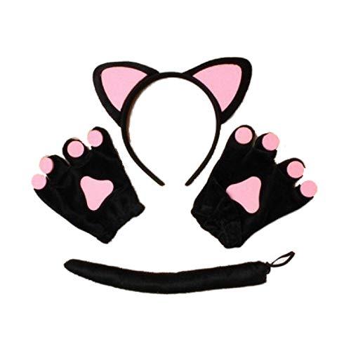 Schwarz Rosa Katze Ohren Haarband Schwanz und Handschuhe Set Kostüm Party Hen ()