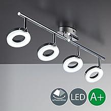 - Lámpara de techo LED, 330lúmenes, de cromo, chrom, 4 focos[Clase de eficiencia energética A+]